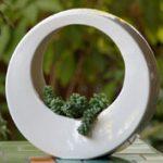 Minimalista szobor növényi kiegészítőkkel