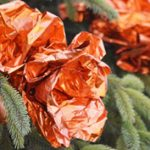 Karácsony: diószívű virágok a karácsonyfán