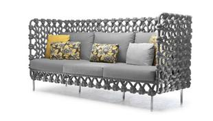 Acélvázra makramézott kanapé és fotel