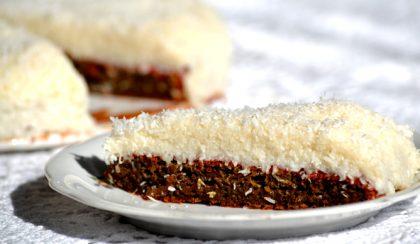 Céklás-kakaós piskóta kókuszos pudingkrémmel