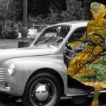 Montázs: vibráló sziluettek régi, fekete-fehér fotókon