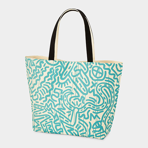 Tote_Uniqlo_Haring_Turquoise_Pattern_on_White