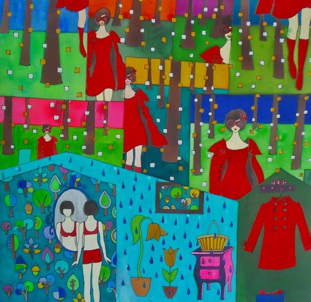 Kendő Somogyi Réka Piroska című festménye után