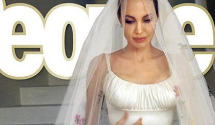Angelina Jolie fátylát gyerekrajzok díszítették