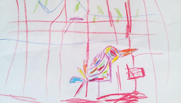 Zsombi: Papagáj (papír, ceruza)