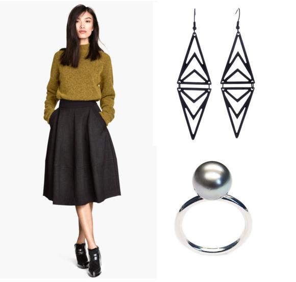 H&M szoknya és pulóver, Camaïeu fülbevaló, LIKO gyűrű