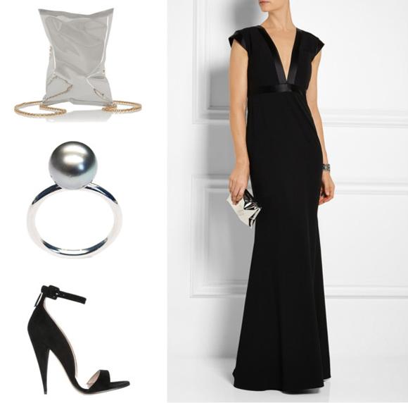 Mason by Michelle Mason ruha, Anya Hindmarch táska, LIKO gyűrű és MIU MIU cipő