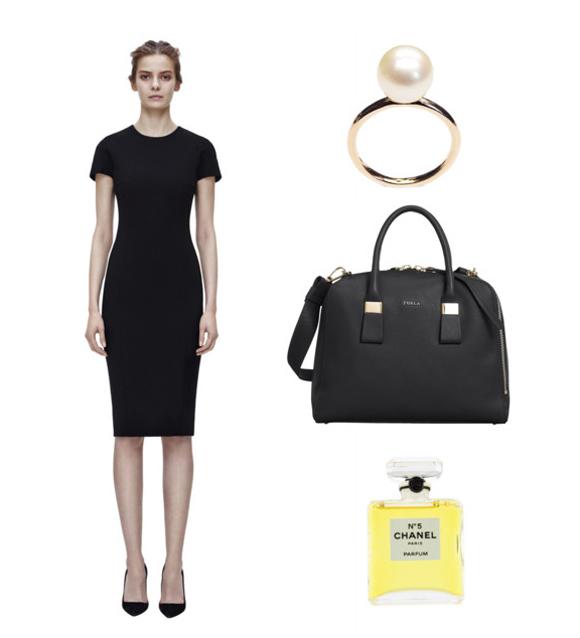 Victoria Beckham ruha, LIKO gyűrű, Furla táska, Chanel parfüm