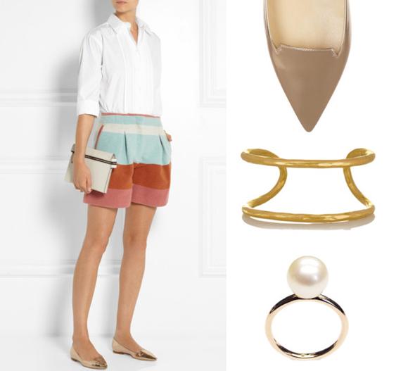 Chloé rövidnadrág, Jimmy Choo cipő, Hervé Van Der Straeten karkötő, LIKO gyűrű