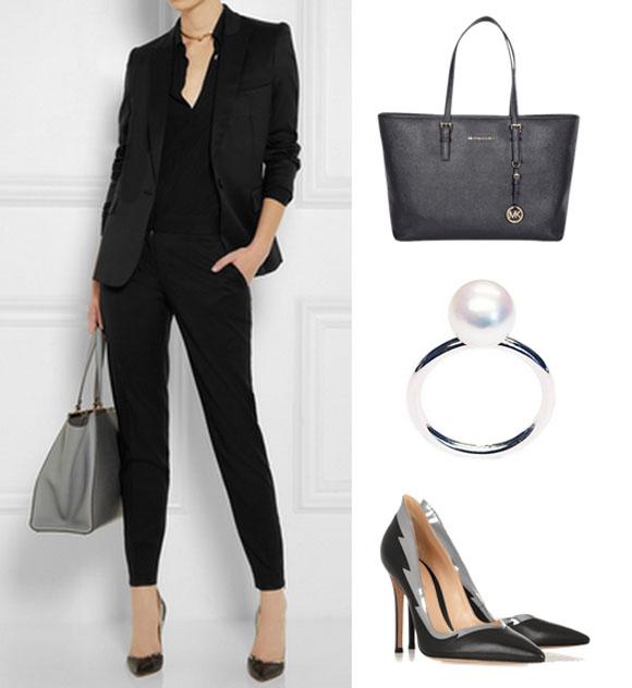 Stella McCartney blézer, Michael Kors táska, LIKO gyűrű, Gianvito Rossi cipő