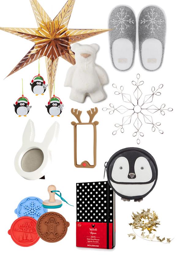 STRÅLA Függőlámpa (IKEA), Hópelyhes mamusz (Oysho), Butterbear fürdőgolyó (Lush), Pingvines karácsonyfadísz (KIK), Hópehely (H&M), Nyuszis fényképtartó (H&M), Rénszarvasos Iphone tok (H&M), Pingvines pénztárca (F&F), Sütipecsét (Butlers), 2015-ös naptár (Moleskine), VINTERMYS füzér (IKEA)