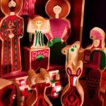 József, Mária, a kis Jézus és a három király