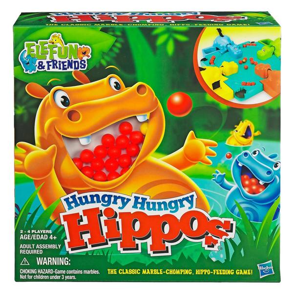 Hogyan lehet egy kétévest, egy hatévest és két felnőttet egy játékkal lekötni. A Hungry Hungry Hippos nagyon zajos, de nagyon szórakoztató. A cél, hogy a vízilovunk minél több golyót felfaljon.