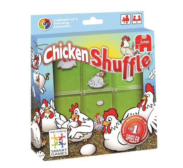 A chicken Shuffle a Smart Games egyik legjobb fejtörője. A keretben feladatkártyákat tartalmaznak, a feladat pedig nem más, mint a tologatható tyúkos lapokkal minden tojásra egy tyúkot ültetni. Egyszemélyes játék és igen addiktív.
