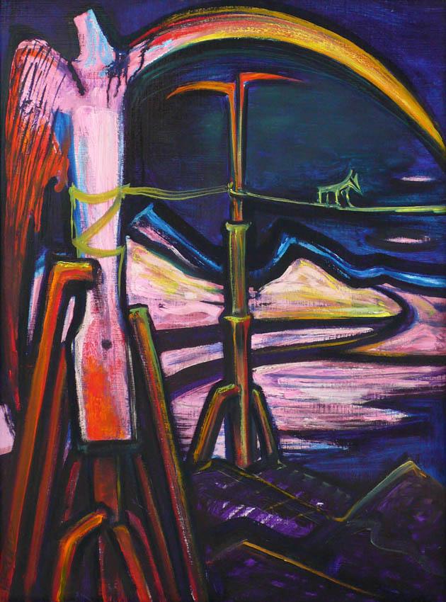 El Kazovszkij: Kötéltáncos őrangyallal 80x60, olaj, farost, 1994