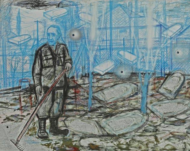 Bukta Imre: Falusi zsidó temető 100x130, tus, pasztell, szén, tempera, grafit, papíron, 2011