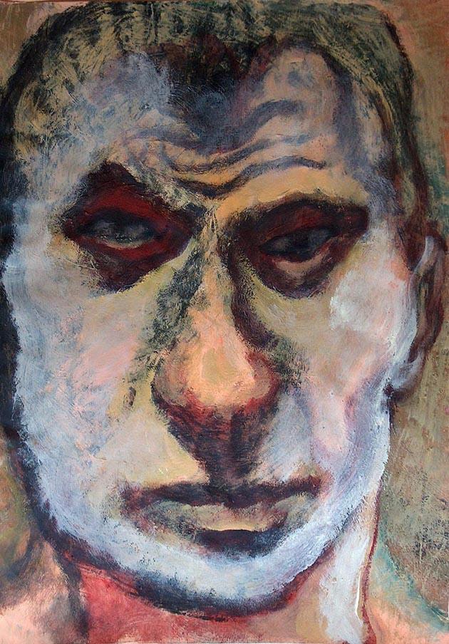 Gaál József: Fegyenc önarckép 56x40, akril, olaj, papír, 2005