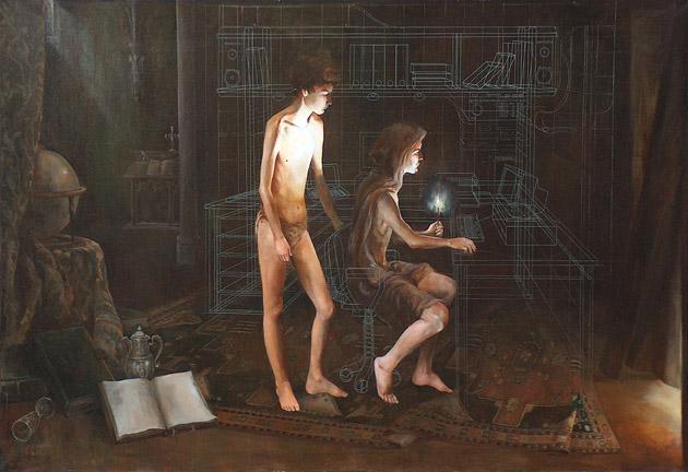 Kósa János: Hackerek 100x150, olaj, vászon, 1996