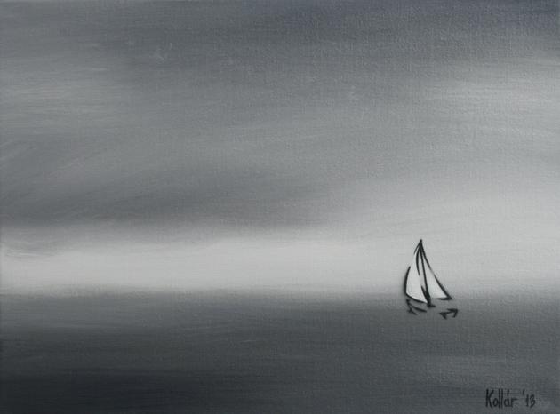 Kollár Andrea: Tengeróceán I., olaj, vászon, 30 x 40 cm, 2013