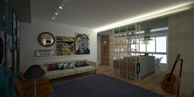 A nappali türkizkék fala nem az egyetlen élénk szín a lakásban. (fotó: semerene.com)