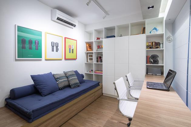 Dolgozó és vendégszoba egyben. (Fotó: archdaily.com.br - Joana França)
