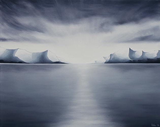 Kollár Andrea: Ezüsthíd, olaj, vászon, 80x100 cm, 2014