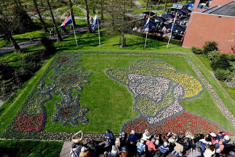 """Vincent van Gogh 250nm-es """"önarcképe"""" tulipánból a Keukenhofban/Fotó: keukenhof.nl"""