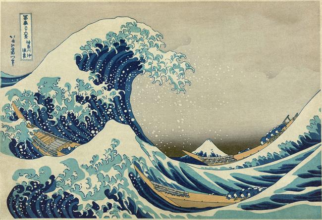 Kacusika Hokuszai: A nagy hullám Kanagavánál (1820 körül készült fametszet)