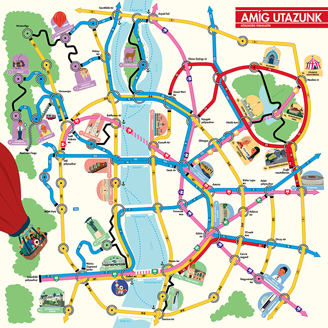 A játéktábla 55x55 centi és Budapest egyszerűsített térképe.