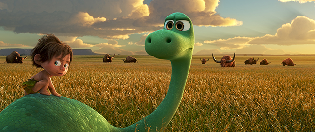 AN UNLIKELY PAIR ? In Disney?Pixar?s ?The Good Dinosaur? Arlo, an Apatosaurus, encounters a human named Spot. Together, they brave an epic journey through a harsh and mysterious landscape. Directed by Peter Sohn, ?The Good Dinosaur? opens in theaters nationwide Nov. 25, 2015. ?2015 Disney?Pixar. All Rights Reserved.