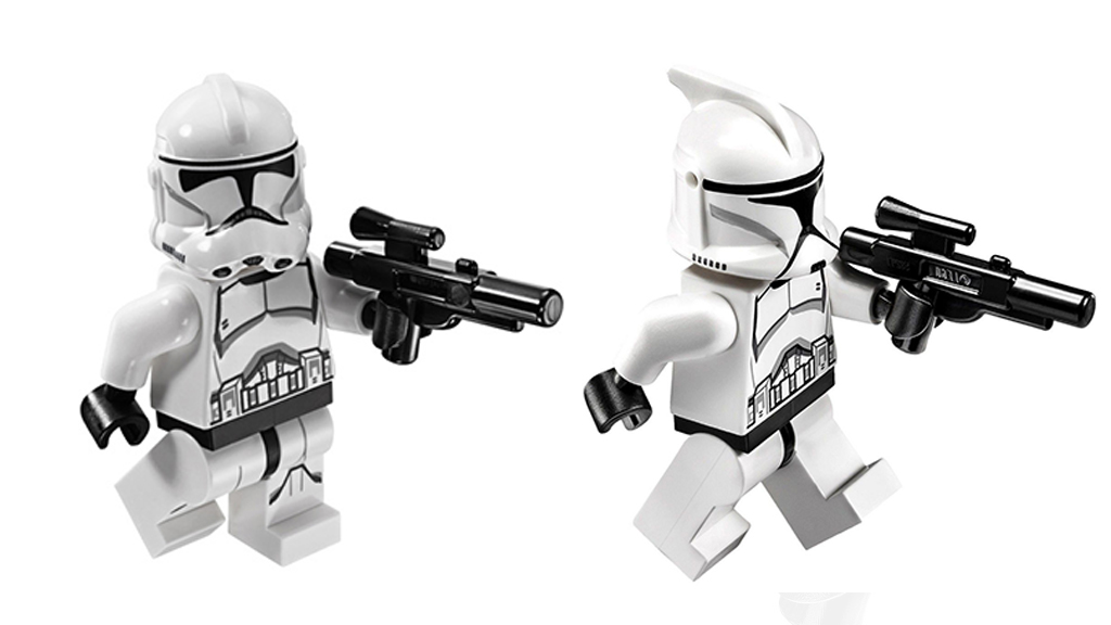 Rohamosztagos és klón LEGO figura. Egészen más a sisakjuk!