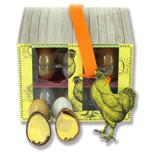 Sárga krémmel töltött csokitojás a tyúkólból - Kentish Crème de la creme Eggs Coop/Gyártó: Artisan du Chocolat - London