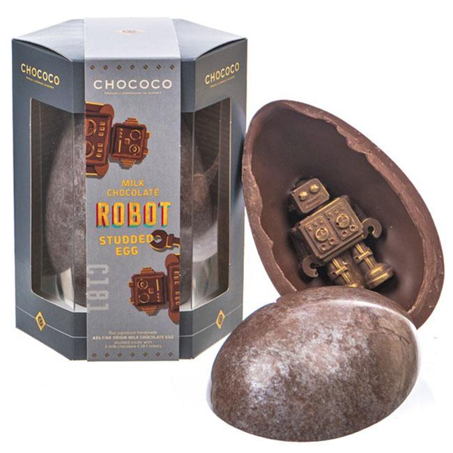 Robottal töltött csokitojás - Milk Chocolate C181 Robot Studded Egg/Gyártó: Chococo