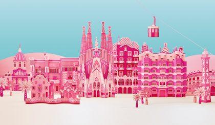 A Sagrada Família és Barcelona rózsaszín papírból