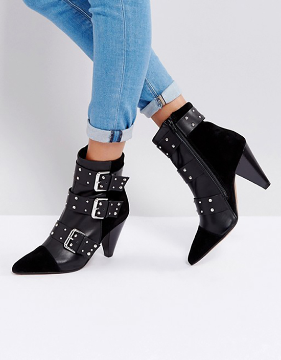 ASOS - New Look Stud Buckle Ankle Boot With Cone Heel
