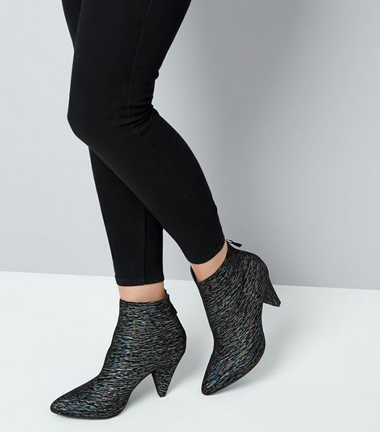 New Look - Black Iridescent Cone Heel Shoe Boots