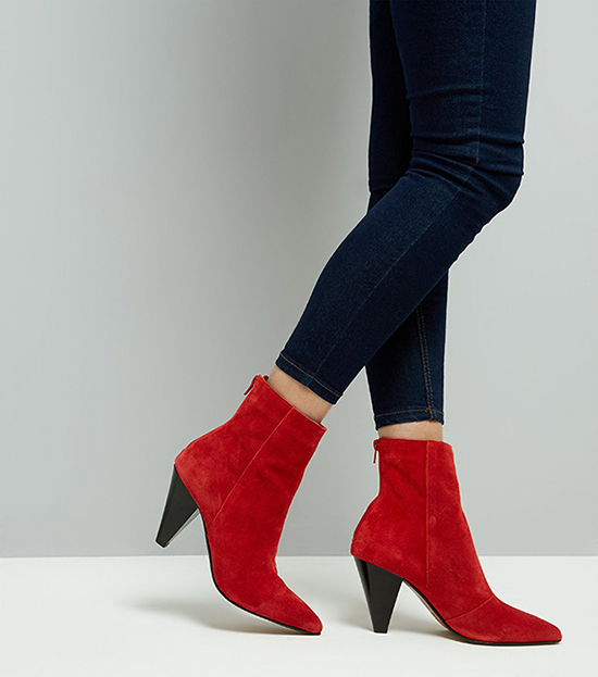 New Look - Red Leather Cone Heel Pointed Boots