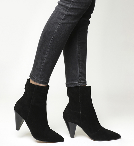 Office -Absinthe Pointed Cone Heel Boots - Black Suede