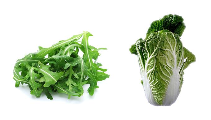 Felismered a két növényt? Azt is tudod, hogy melyik a rucola és melyik a kínai kel?