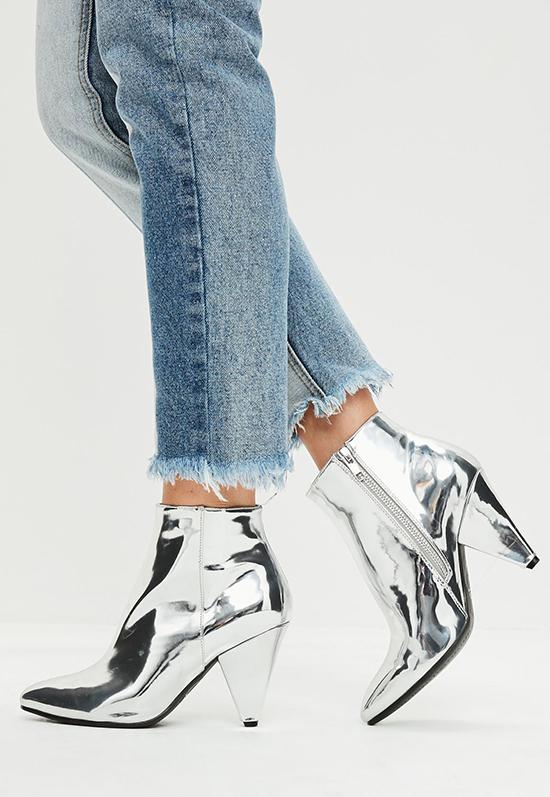 Missguided - silver cone heel ankle boots - Na jó, ezt én se gondoltam egészen komolyan...