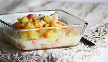 Tőkehal-rák-kukorica tejszínes halleves (chowder)