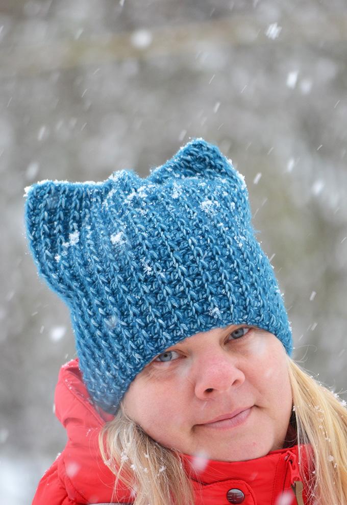 Horgolt (kék) macska sapka (Simple Free Crochet Cat Beanie Pattern)