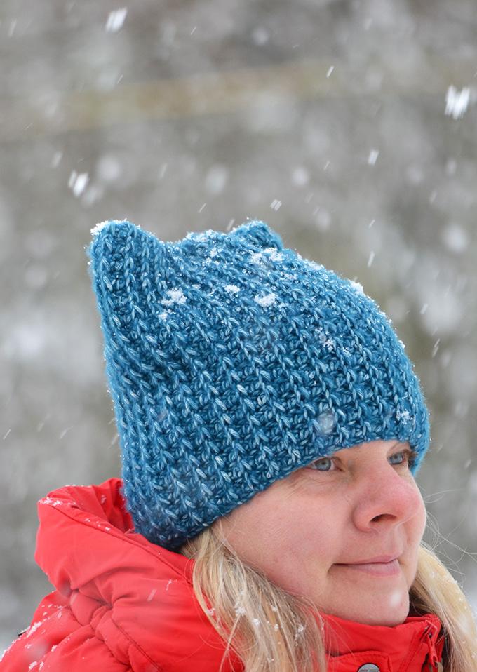 Horgolt (kék) macska sapka (Simple Free Crochet Cat Hat Pattern)
