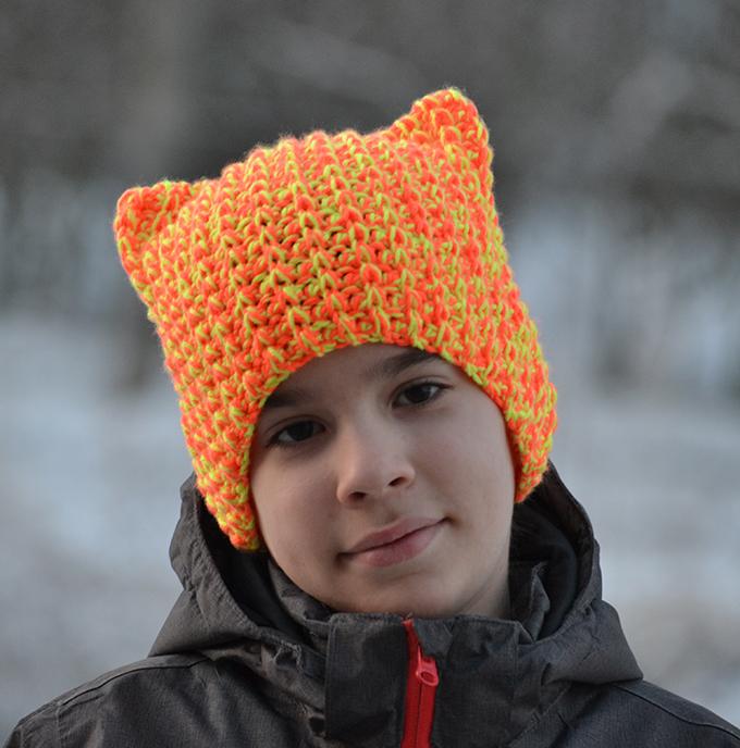 Horgolt macska sapka (Simple Free Crochet Cat Beanie Pattern)