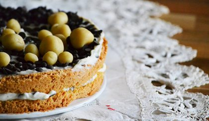Dani szülinapi tortája: Mandulás-csokis-narancsos-ricottás torta