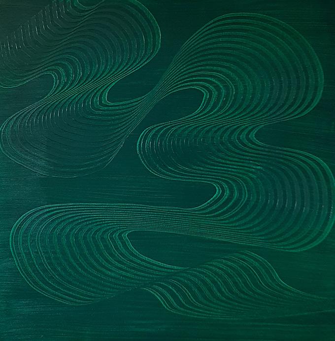 Kucsera Éva Myreille: Flow (80 cm x 80 cm, olaj-vászon, 2020.07.25.)