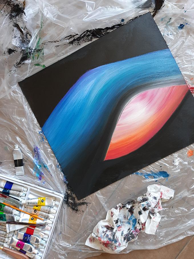 Kucsera Éva Myreille: Sunset (45 cm x 50 cm, olaj-akril-farostlemez, 2020.07.20.)