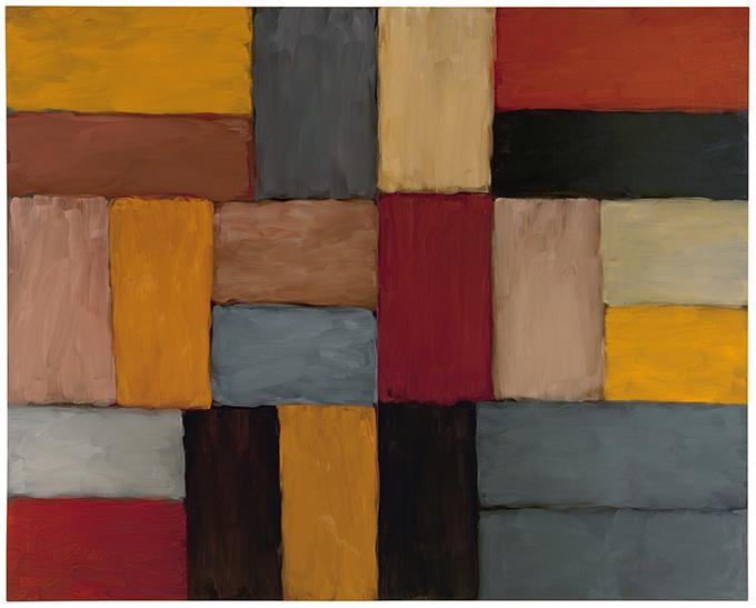 Sean Scully Fényfal Zacatecas (Wall of Light Zacatecas), 2010 olaj, lenvászon; 279,8 × 350,4 cm magángyűjtemény © Sean Scully. A művész engedélyével. Fotó: Christoph Knoch