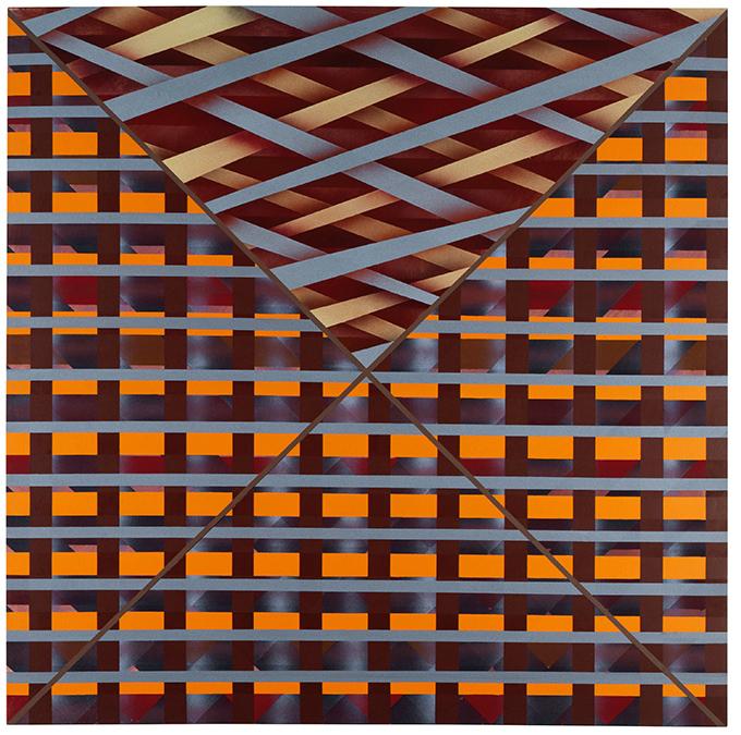 Sean Scully Átlós beékelés (Diagonal Inset), 1973 akril, vászon; 243,5 × 243,5 cm magángyűjtemény © Sean Scully. A művész engedélyével.