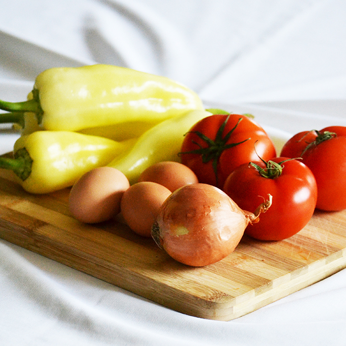 Make Lecsó! Ingredients: Yellow wax peppers, tomatos, eggs and onion./Photo: Myreille